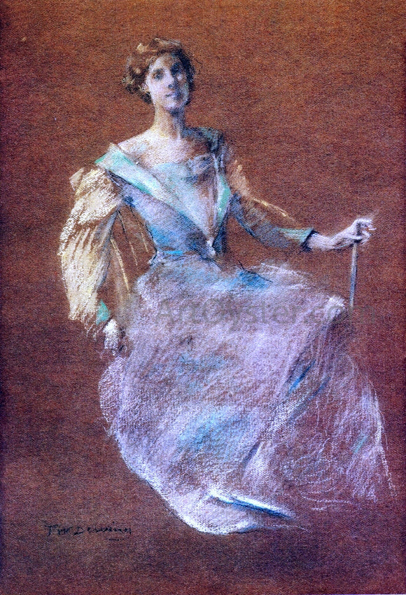 Thomas Wilmer Dewing Lady in Blue - Canvas Art Print