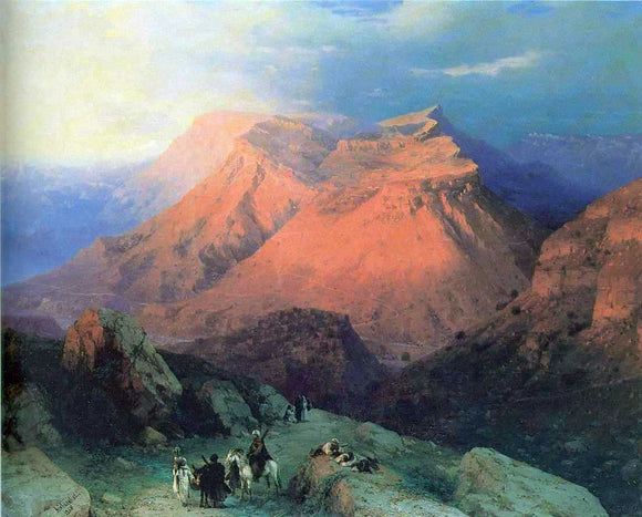Ivan Constantinovich Aivazovsky Mountain Village Gunib in Daghestan, View from the East - Canvas Art Print