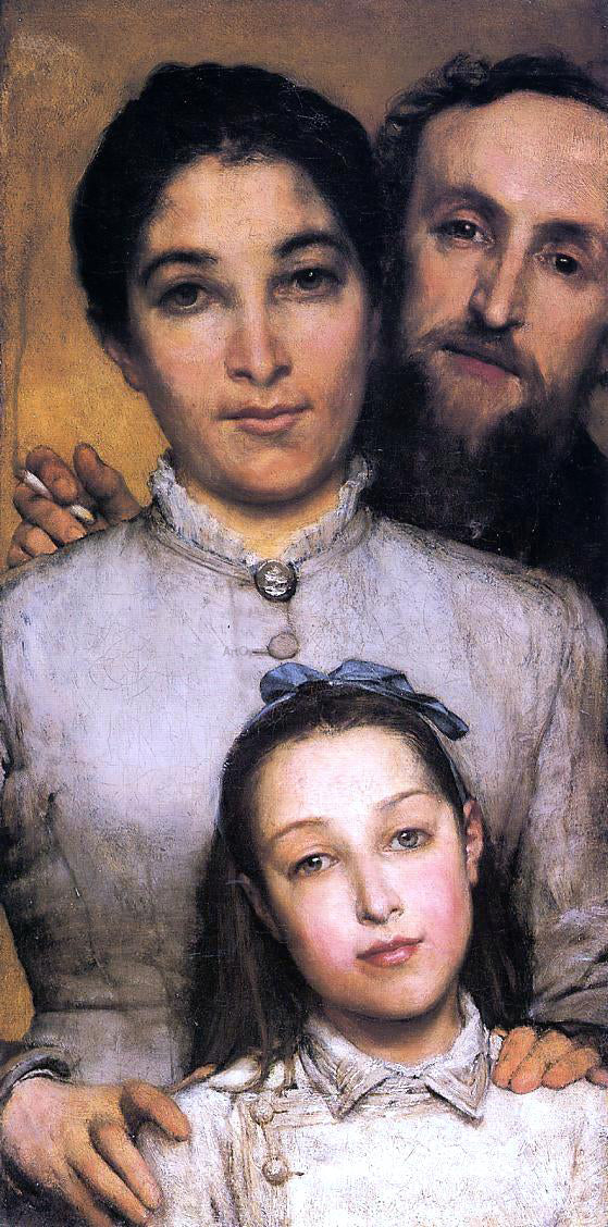 Sir Lawrence Alma-Tadema Portrait of Aime-Jules Dalou, His Wife and Daughter - Canvas Art Print