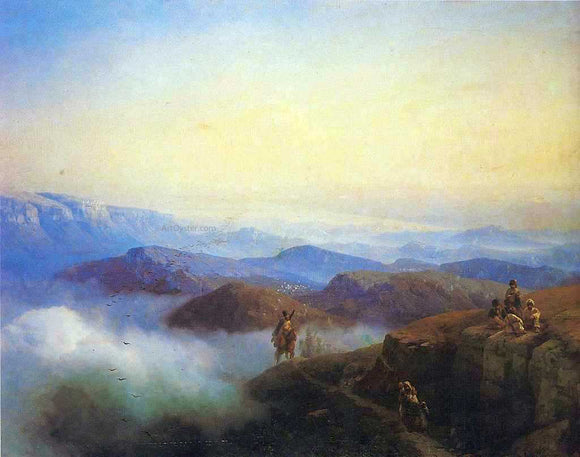 Ivan Constantinovich Aivazovsky Range of the Caucasus mountains - Canvas Art Print