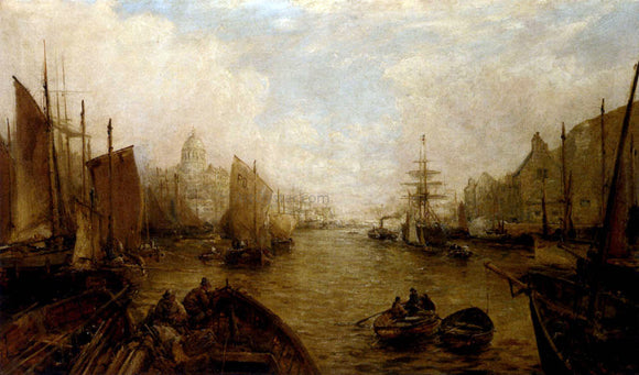 William Edward Webb Shipping on the Thames - Canvas Art Print