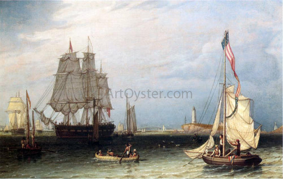 Robert Salmon Shipping Scene at Boston Light - Canvas Art Print