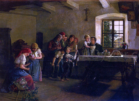 Ferdinand Georg Waldmuller The Center of Attention - Canvas Art Print