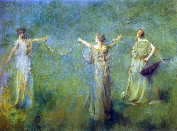 Thomas Wilmer Dewing The Garland - Canvas Art Print