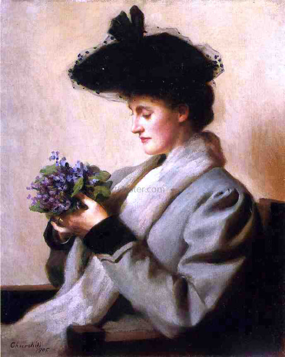 William Worchester Churchill The Nosegay of Violets: Portrait of a Woman - Canvas Art Print