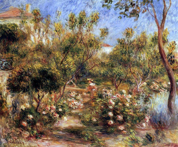 Pierre Auguste Renoir Young Woman in a Garden - Cagnes - Canvas Art Print