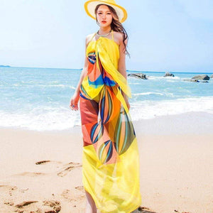 Summer Ocean Wind Print Beach Dress Beach Cover Up Beach Wear Robe De Plage Beachwear Saida De Praia Cover Up Cloths