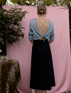 Open back crop top ~ Aquatic Blue Satin - auslästudio
