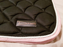 Load image into Gallery viewer, Black cotton quilted saddle pad, matching ear bonnet and patent brushing boots full set