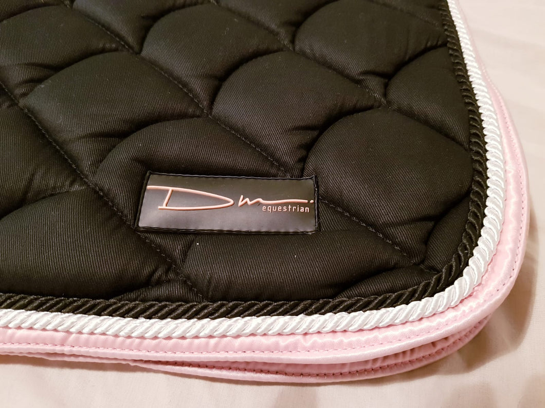 Black cotton quilted saddle pad, matching ear bonnet and patent brushing boots full set