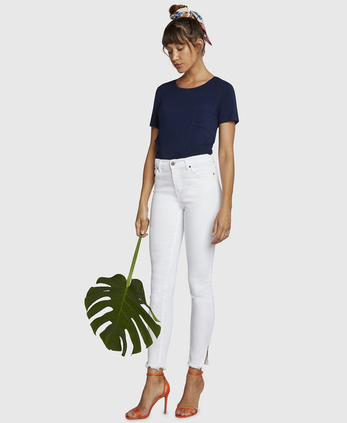 High Rise Skinny, Gem Jeans - White