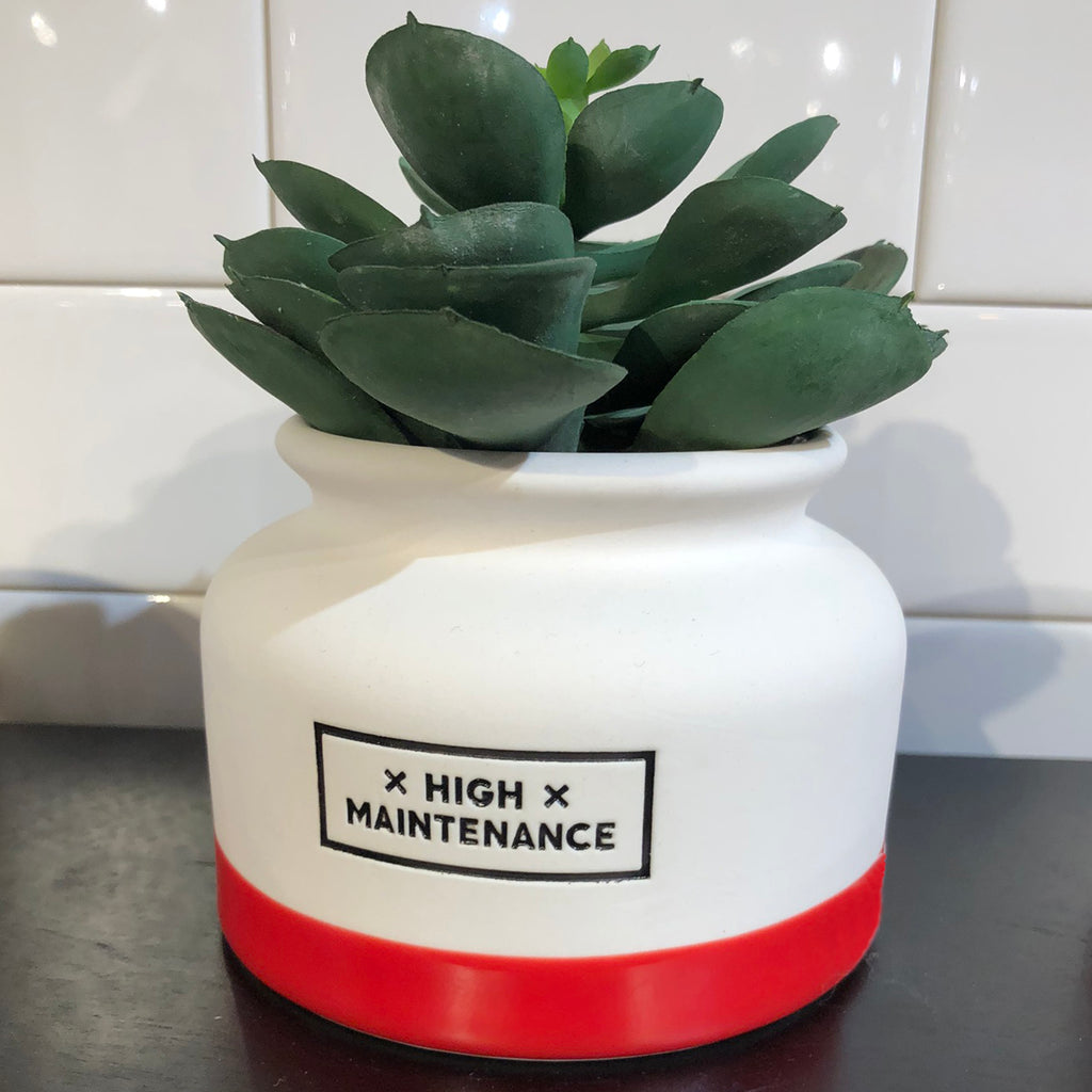 high maintenance white with red base planter
