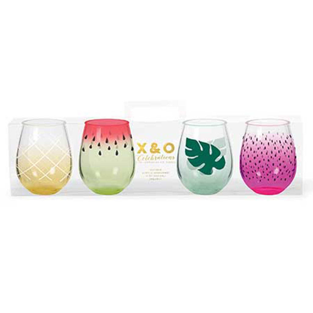 fruit stemless acrylic wine glass set