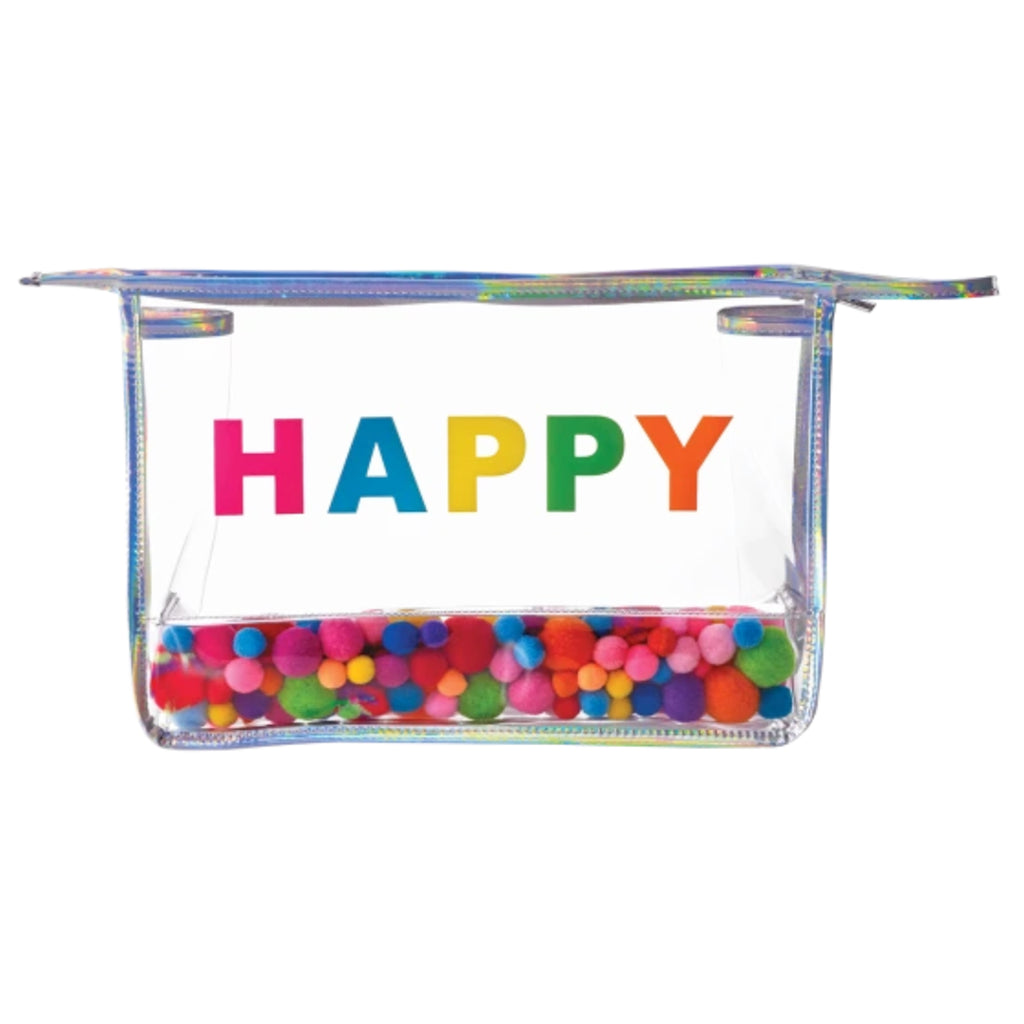 happy pom pom clear travel bag