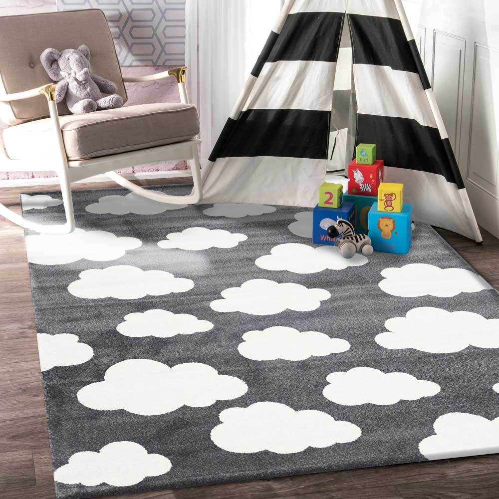 Piccolo  Dark Grey and White Cloud Kids Rug