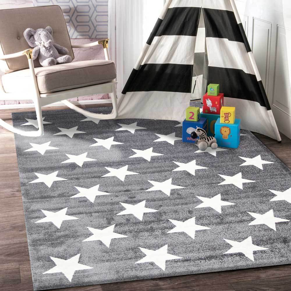 Piccolo Charcoal and White Stars Kids Rug