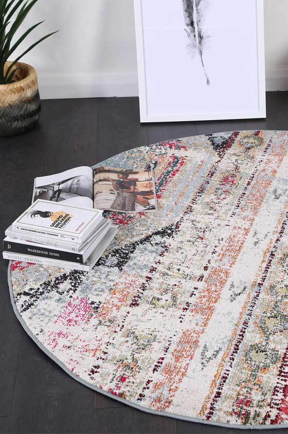Symphony Vintage Bohemian Multi-Coloured Distressed Round Rug