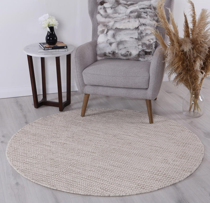 Scandi Beige Reversible Wool Round Rug
