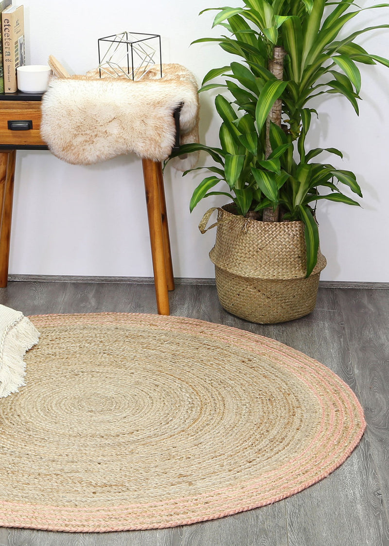 Capri Pink Natural Round Boarder Rug