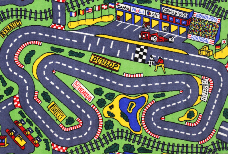 Non Slip Green Kids Grand Prix Race Track Road Area Rug Baby Play Mat