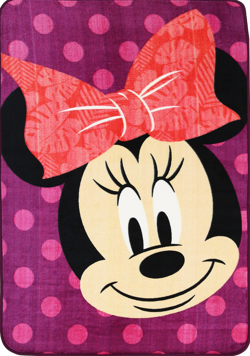 Non Slip Purple Kids Disney Mickey Minnie Mouse Smiling Polka Dot Area Rug Baby Play Mat