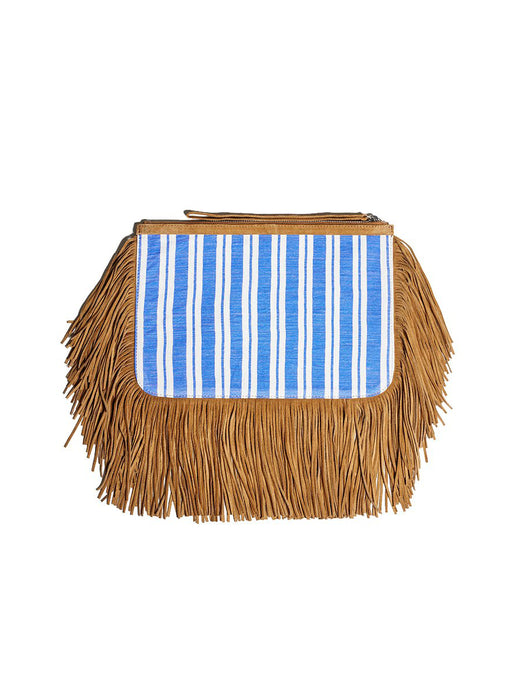 Liya Fringe Clutch Bag - Blue