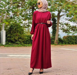 Cherry - Unlined - Crew neck - Abaya