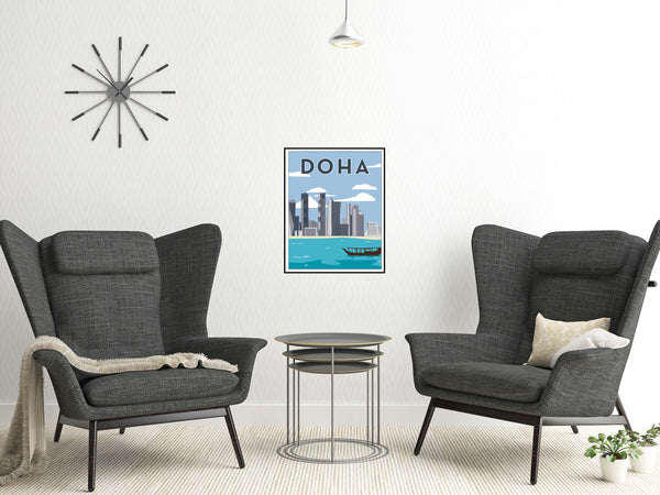 DOHA Illustration from Doha Designs displayed in frame