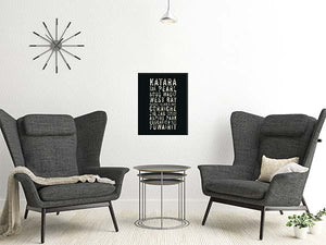 Subway Sign Style Illustration from Doha Designs displayed in frame on wall