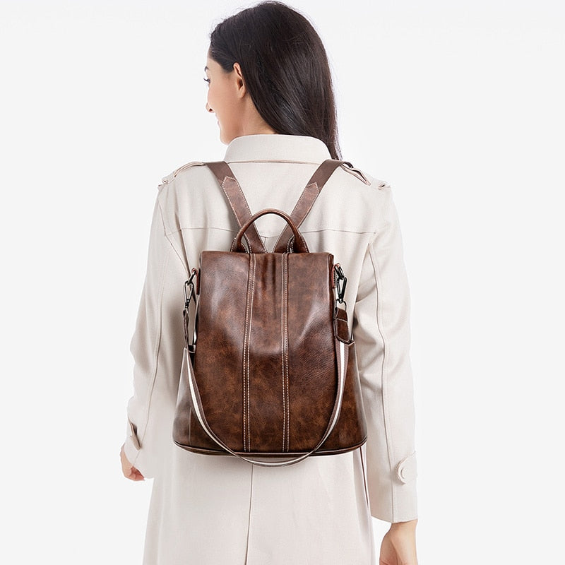 Backpack Women High Quality PU Leather Fashion Backpack Urban Girls Functional Anti Theft