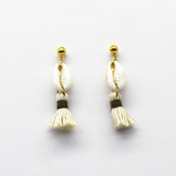 Mini Cowrie with Mini Cream Tassel and Olive Band
