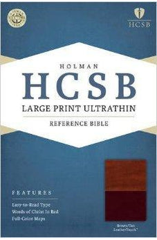 HCSB Large Print Ultrathin Reference Bible, Brown/Tan LeatherTouch 9781586408039