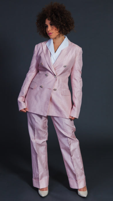 Lady in Pink Pants Suit