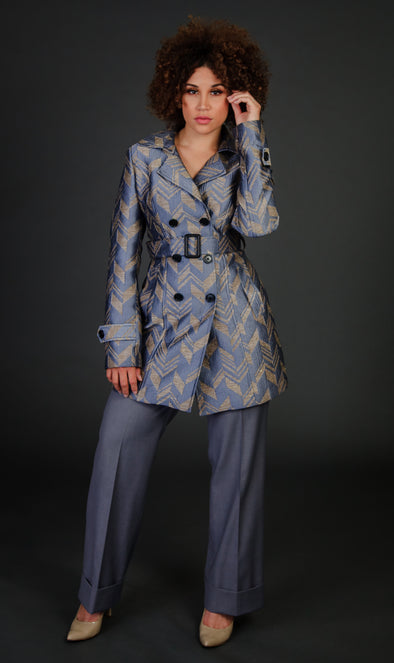 Sleek Grey/Gold Pants Suit