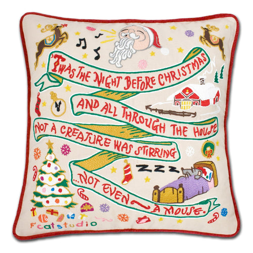 Night Before Christmas Hand-Embroidered Pillow Pillow catstudio