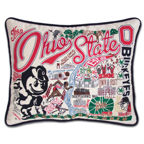 Ohio State University Collegiate Embroidered Pillow Pillow catstudio