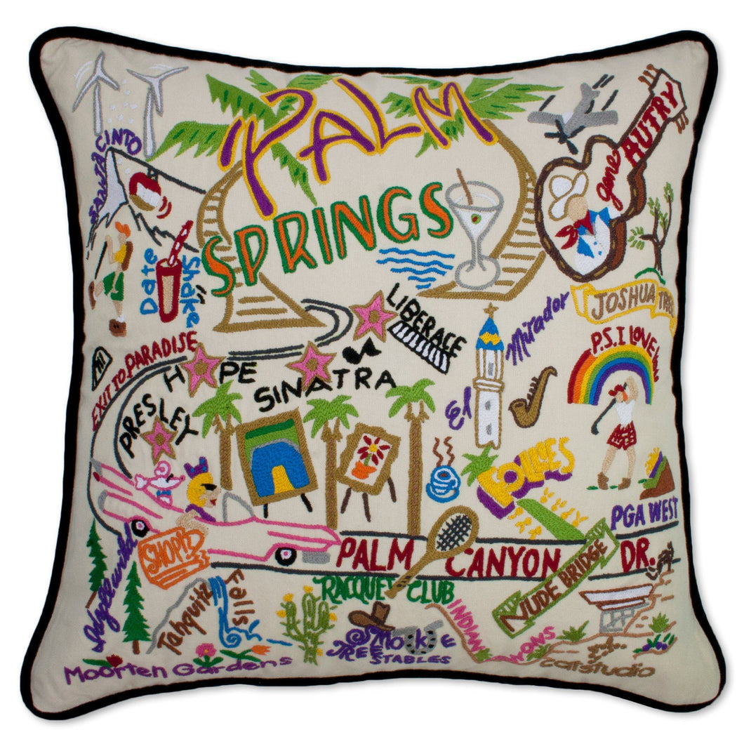 Palm Springs Hand-Embroidered Pillow Pillow catstudio