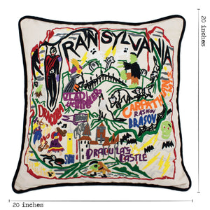 Transylvania Hand-Embroidered Pillow Pillow catstudio
