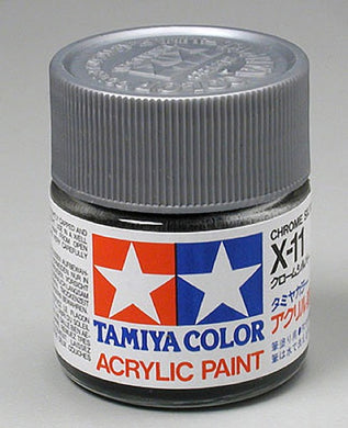 Tamiya 81011 Acrylic Paint 23ml X-11 Gloss, Chrome Silver