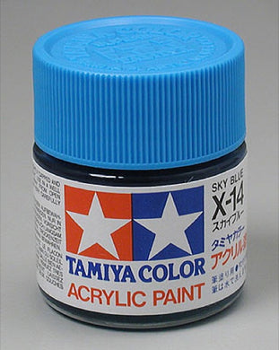 Tamiya 81014 Acrylic Paint 23ml X-14 Gloss, Sky Blue