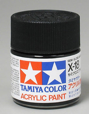 Tamiya 81018 Acrylic Paint 23ml X-18 Semi Gloss, Black