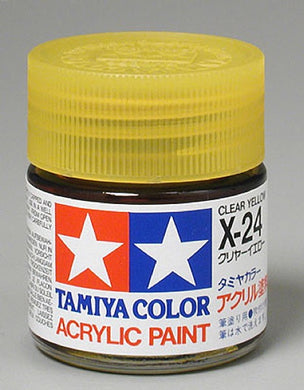 Tamiya 81024 Acrylic Paint 23ml X-24 Gloss, Clear Yellow
