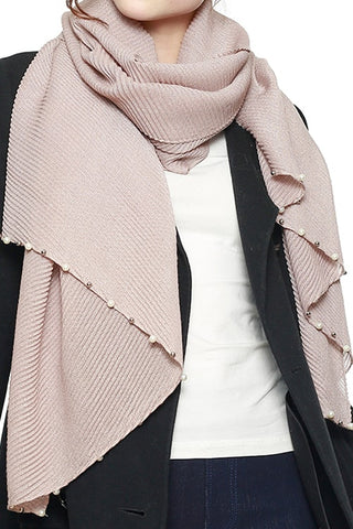 Pink Scarf with Pearl Detailing