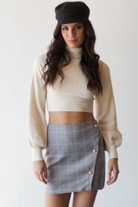 TIA CROPPED SWEATER - WHITE