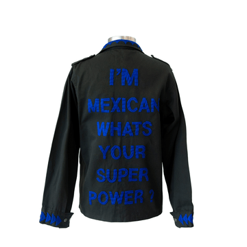 Military Jacket Mexican Super Power Electric Blue