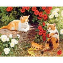 Load image into Gallery viewer, cat and flowers