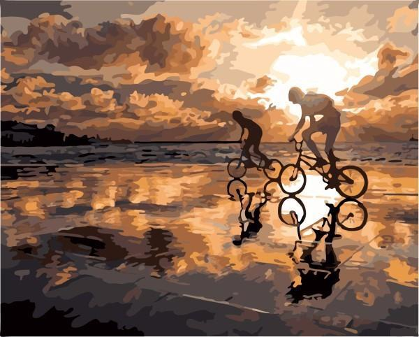 DIY Painting - Cycling on the Beach
