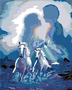 Artistic Painting of a Couple and Horses
