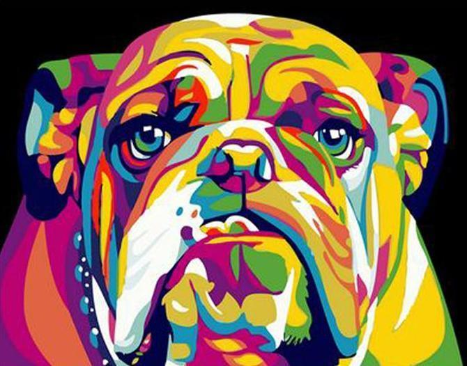 Colorful Rottweiler Dog Painting