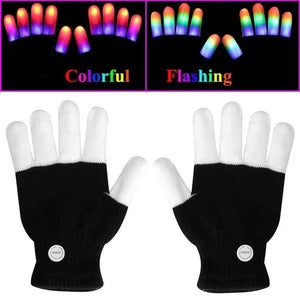 Gloves Flashing Finger Black Button Lights